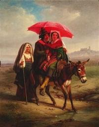 auf einem esel reitet ein junges italienisches paar durch eine campagnalandschaft, eine alte frau in tracht begleitet sie by dietrich wilhelm lindau