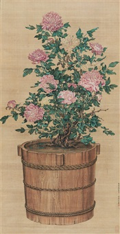 flowers in wooden tub by lin zhaokai