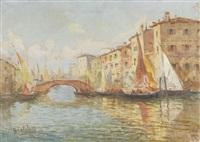 kanalpartie mit brücke und booten by alessandro catalani