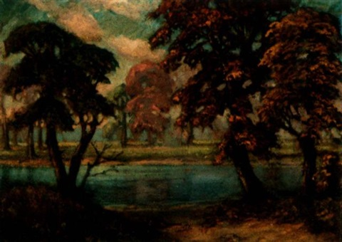 landscape along riverbank by f otto becker
