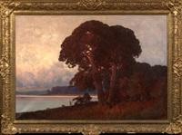 river landscape at sunset by carl kenzler