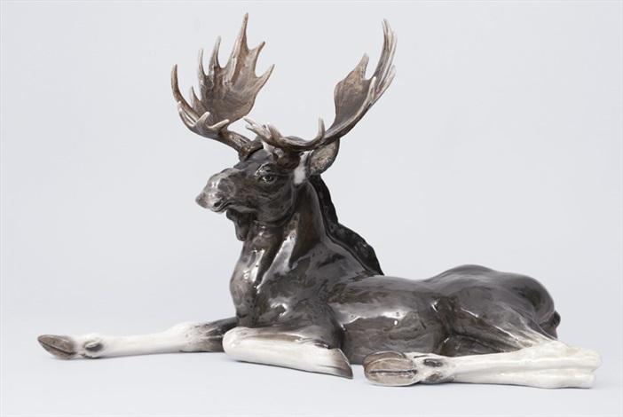 a resting elk by fritz heidenreich