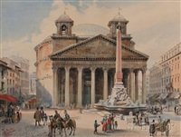 the pantheon in rome from the piazza della rotonda by françois martin