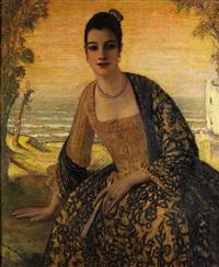 portrait einer jungen dame in spanischem kleid by carl kricheldorf