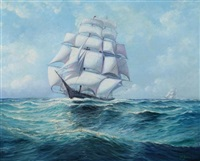 three masted ship by arthur e. bracy