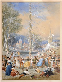 mayday in medieval times, figures in 17th century costume dancing around a maypole by joseph nash