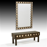 mirror and three-drawer console (2 works) by ab glas & tra