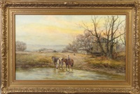horses at stream with farm house by frank f. english