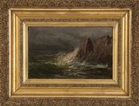 waves crashing on a rocky coast by edward hill