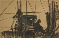 barca con marinaio (maestro su biba) by pietro annigoni