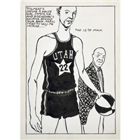 untitled (pigmeat's dating a white girl, coach, sir and eisendork's griping behind your back.....) by raymond pettibon