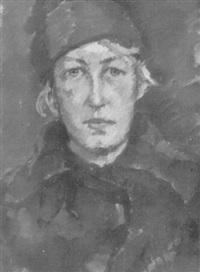 brustbildnis einer jungen frau mit blauer mütze by friedrich rumler-siuchninski