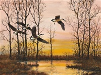 incoming snow geese, candlewood lake, connecticut by robert kennedy abbett