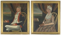 portraits of general jonathan davis (+ portrait of sarah hammond davis; pair) by ralph eleaser whiteside earl
