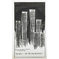 untitled (there are cloisters or towers or something. the walls-are they high and broad?) by raymond pettibon