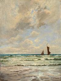 marine mit zwei segelbooten by karl koppel
