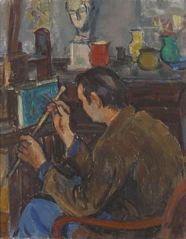 junger maler bei der arbeit by paul basilius barth