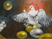 dove with crown of thorns and eggs by siegfried gerhard reinhardt