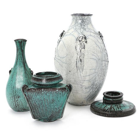 Three Vases And A Low Candlestick Of Earthenware By Svend Hammershi