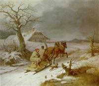 fahrt im pferdeschlitten durch winterlandschaft bei abenddämmerung by karl wilhelm von heideck