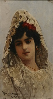 portrait of a young woman wearing a mantilla by alfredo florez