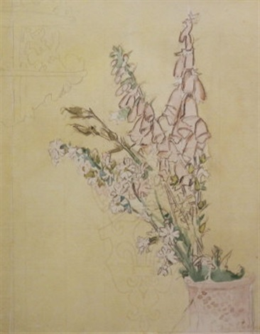 foxgloves in a pink vase by walter richard sickert