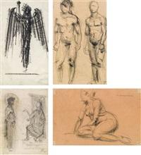 konvolut: 2 aktstudien & 2 entwurfszeichnungen (set of 4) by franz hagenauer