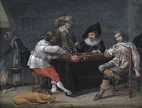 interieur mit rauchenden herren beim trick-track-spiel by anonymous-dutch (17)