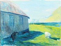 sheep at the house, lervig faroe islands by joannis kristiansen