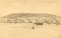 two harbour sceneries from frederikshald and oslo, norway by julius friedrich ludwig runge