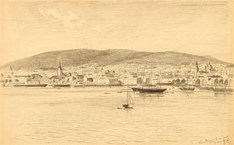 two harbour sceneries from frederikshald and oslo norway by julius friedrich ludwig runge