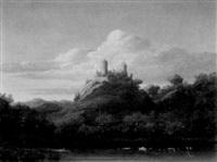 felsenburg über abendlich stiller seelandschaft by theodore fischer
