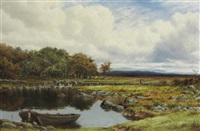 the edge of the lake, capel curig by william henry mander