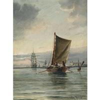 segelschiffe auf ruhiger see by vilhelm victor bille