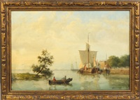 harbor scene by hendrik barend koekkoek