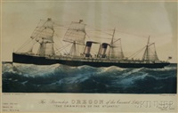 the steamship oregon of the cunard line by currier & ives (publishers)