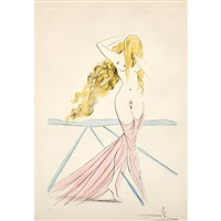 etching with watercolor of female nude by salvador dalí