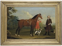 portrait of a gentleman, presumably william fitzherbert, 1st bt., with a bay hunter held by a groom and two hounds, in a landscape by richard roper