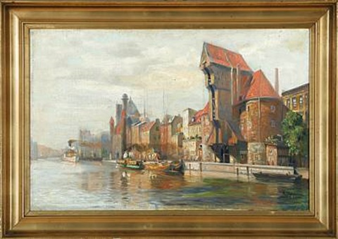 harbour scene from gdansk danizig in poland by reinhold bahl