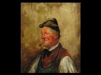 portrait eines mannes mit pfeife by gustav adolph müller