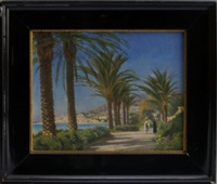 figures along a palm tree lined pathway with a mediterranean town and coastal landscape beyond by christian peder mørch zacho