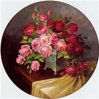 bukett rosé- und bordeauxfarbener rosen by emmy adam