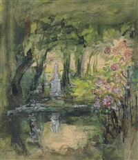 jardin du luxembourg (study)(+ another, watercolor; 2 works) by pierre laprade