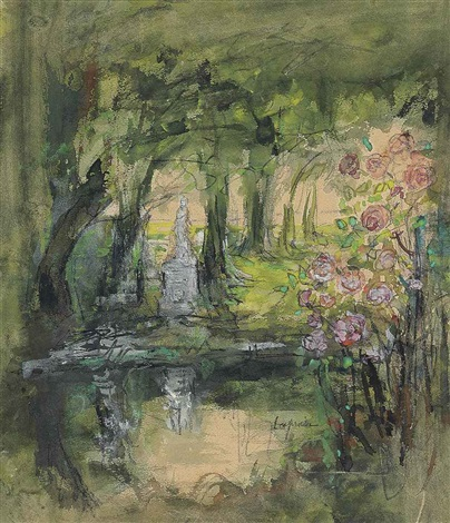 jardin du luxembourg study another watercolor 2 works by pierre laprade