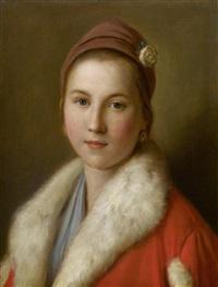 junge frau in einem roten, pelzverbrämten mantel by pietro antonio rotari