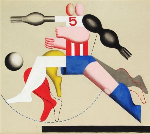 Fussballer Mit 5 I By Hans Ticha On Artnet