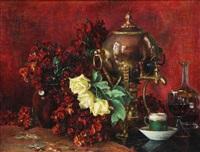 nature morte aux fleurs et samovar by berthe art