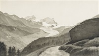 paysage des hautes alpes by etienne rivier-soutter