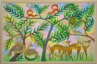 paysage avec écureuils, oiseaux et gazelles by mulongoy pili pili