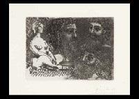 femme nue assise et trois têtes barbues suite vollard no25 by pablo picasso